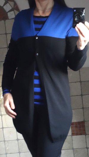Betty Barclay, Strickjacke, Strickweste, Cardigan, Langarm, schwarz, royalblau, Materialmix Baumwolle, Längsstrich Jacke V-Ausschnitt, 3 Knöpfe, hochwertige Qualität,hervorragender Zustand, Gr. S (Gr. 36)