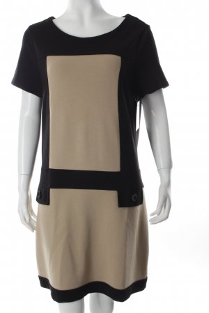 Betty Barclay Vestido de tela de sudadera negro-beige bloques de color