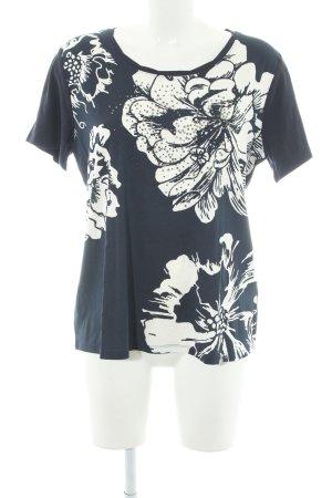 Betty Barclay T-shirt donkerblauw-room bloemen patroon casual uitstraling