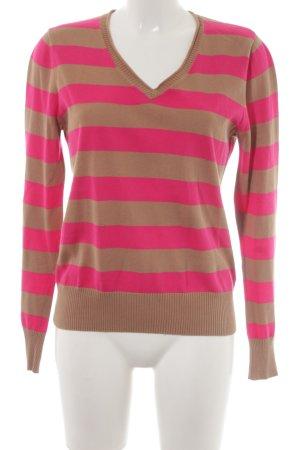 Betty Barclay V-Ausschnitt-Pullover beige-magenta Streifenmuster Casual-Look