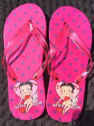 Betty Boop Badelatschen Flip Flop Sauna Sandalen Neon Pink Gr. 38