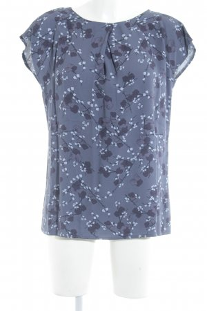 Betty & Co Kurzarm-Bluse graublau-himmelblau florales Muster Casual-Look