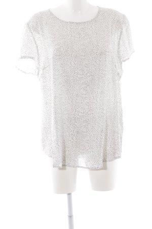 Betty & Co Kurzarm-Bluse weiß-schwarz Punktemuster Casual-Look