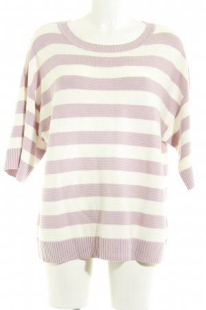 Betty & Co Jersey de cuello redondo blanco-rosa empolvado estampado a rayas