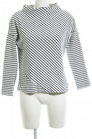 Betty & Co Jersey de cuello redondo blanco-negro estampado a rayas look casual