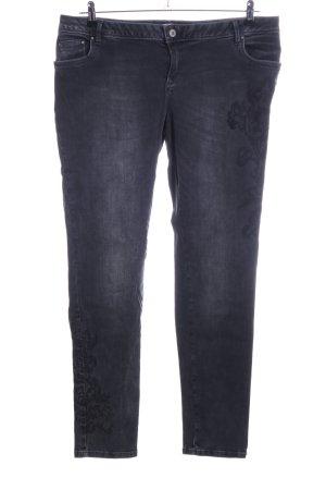 Betty & Co Slim Jeans schwarz Blumenmuster Casual-Look