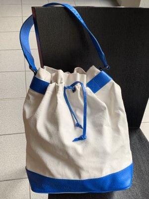 Costume National Pouch Bag natural white-cornflower blue cotton
