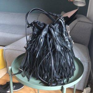 abro Tas met franjes zwart-zilver Leer