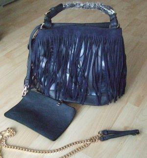Beuteltasche Tasche mit Fransen - dunkelb