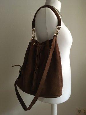 Beuteltasche Tasche Velourleder braun