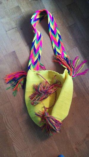 Beuteltasche Wayu Mochila bunt gelb handmade boho hippie strand beach summer