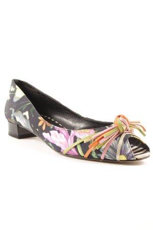 Beverly Feldman Ballerines à bout ouvert motif floral élégant