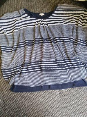 Bexleys Oversized blouse wit-donkerblauw