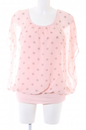 Bexleys Short Sleeved Blouse pink-dark brown spot pattern transparent look