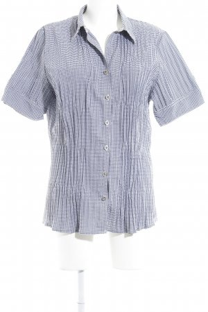 Bexleys Shirt met korte mouwen donkerblauw-wit tafelkleed patroon