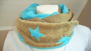 Écharpe tube bleu clair-beige coton