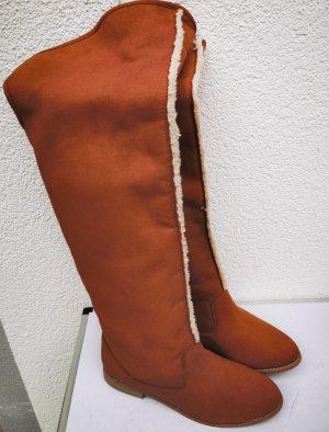 Beyond Skin Overknee Vegan Boots Camel Faux Sheepskin Lammfell