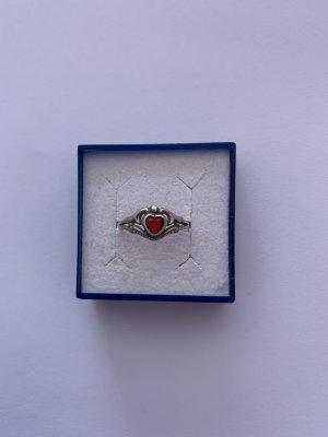 Bezaubender Damen Silber 800 Ring mit Granaten Stein Motiv Herz