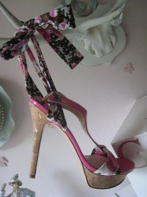 Bezaubernde Blüten Luxus Lackleder Sexy City Pin Up Styl  Sandaletten Seidenbänder NP 155  OVP € Top Neu