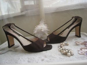 Escada High-Heeled Sandals brown-sand brown leather
