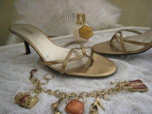 Bezaubernde Luxus Pool Pantoletten Dessous für den Fuß Bronze Platin Top NP 147 €