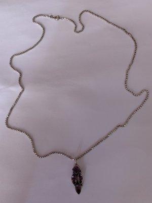 Bezaubernde Venezianer Kette & Anhänger mit Amethyst steine Silber 925 FBM