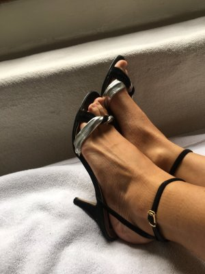 High Heel Sandal black-silver-colored