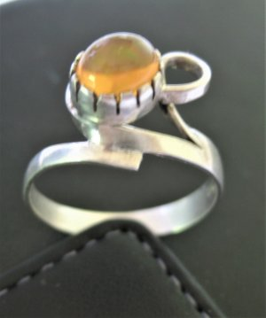 Silver Ring silver-colored-dark yellow real silver