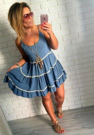 Bezauberndes Hippie oversize KleidTrägerkleid Minikleid Volant Rock  passt S-L