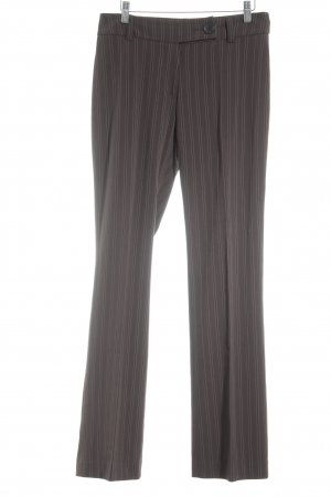 Biaggini Pleated Trousers dark brown-white pinstripe business style