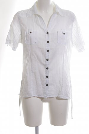 Biaggini Short Sleeved Blouse white striped pattern business style