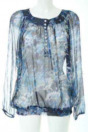 Biaggini Transparent Blouse blue-light grey allover print casual look
