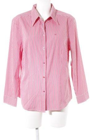 Bianca Langarmhemd ziegelrot-weiß Streifenmuster Casual-Look