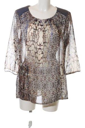 Bianca Transparenz-Bluse braun-wollweiß abstraktes Muster Business-Look