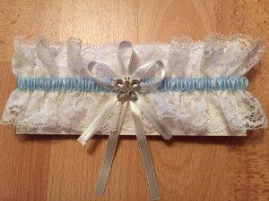 Bianco Evento Strumpfband SB3 Schmetterling Kristall f. Hochzeit Ivory