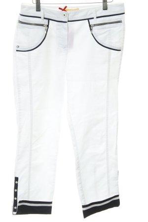 Biba 7/8-broek wit-donkerblauw marine uitstraling