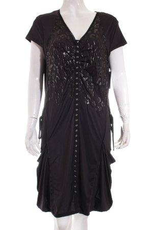 Biba Ballonkleid schwarz Leomuster extravaganter Stil