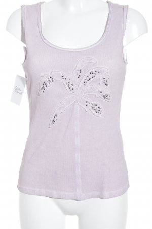 Biba Basic Top dusky pink-mauve placed print second hand look