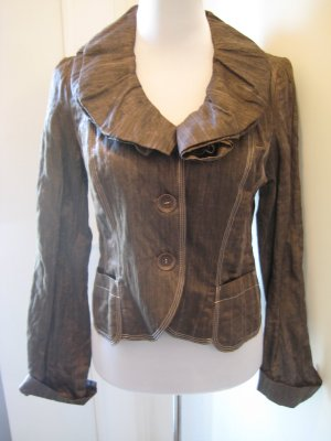 Biba Short Blazer grey brown-taupe cotton