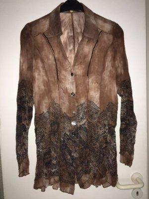BiBA Bluse, Größe 44, braun mit Muster