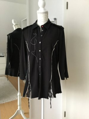 Biba Bluse in schwarz mit originellen Details Größe 42
