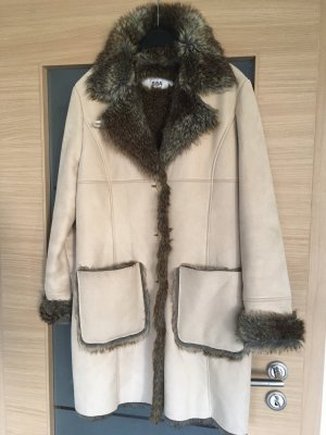 Biba Fake Fur Coat oatmeal-cream imitation leather