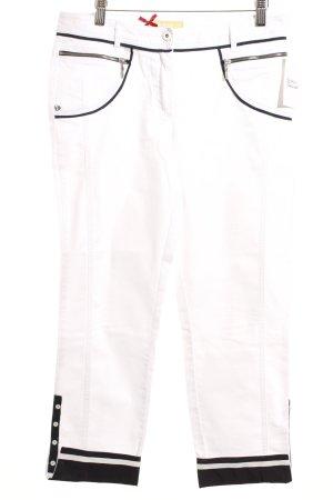 Biba Caprihose weiß-dunkelblau Casual-Look
