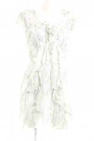 Biba Chiffon Dress pale green abstract pattern casual look