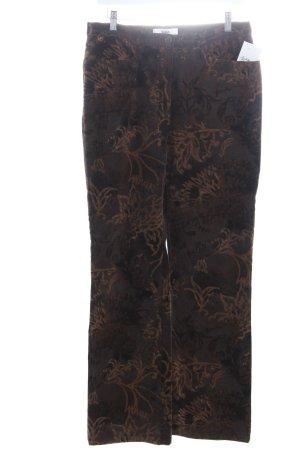 Biba Cordhose dunkelbraun-hellbraun florales Muster Casual-Look