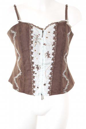 Biba Corsage Top brown-baby blue romantic style