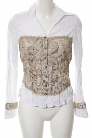 Biba Crash Blouse white-gold-colored flower pattern business style
