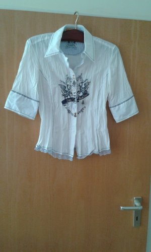 Biba Short Sleeved Blouse white-blue