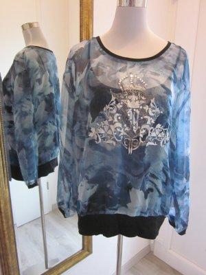 Biba Crisca Shirt Blau Schwarz Gr 42 Langarm