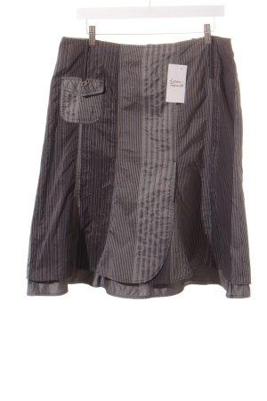 Biba Faltenrock grau-schwarz Streifenmuster
